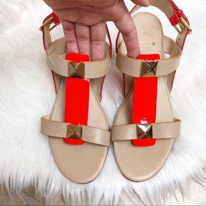 kate spade Shoes - New Kate Spade gold stud neon orange wedge sandal